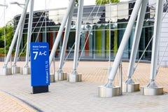 诺基亚在一个蓝色标志的名牌2017年9月16日 免版税库存图片