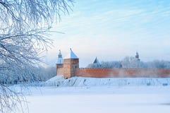 诺夫哥罗德克里姆林宫在Veliky诺夫哥罗德,俄罗斯在冬天有雾的天 图库摄影