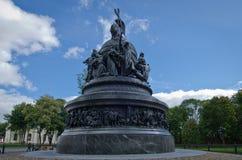 诺夫哥罗德千年雕象 库存照片
