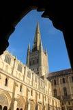 诺威治大教堂外部显示的尖顶 免版税库存照片