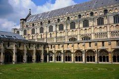 诺威治大教堂修道院&周年纪念迷宫,诺福克,英国 库存图片