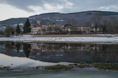 诺尔恰全景由地震毁坏了 免版税库存照片
