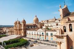 诺托,巴洛克式的建筑学,西西里岛,意大利的例子大教堂  图库摄影