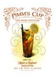 诺拉汇集Pimm的杯鸡尾酒背景 免版税图库摄影
