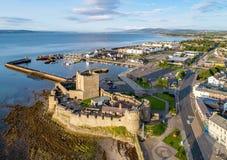 诺曼底城堡在贝尔法斯特附近的Carrickfergus 免版税库存图片