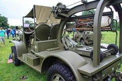 诺曼底,法国;2014年6月4日:诺曼底,法国;2014年6月4日:葡萄酒U S 在显示的军队WWII卡车 库存图片