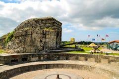 诺曼底,法国;2014年6月4日:阿泽维尔电池 德国电池的安置在第二次世界大战期间的在诺曼底,法国 免版税图库摄影