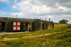 诺曼底,法国;2014年6月4日:阿泽维尔电池 德国电池的安置在第二次世界大战期间的在诺曼底,法国 图库摄影