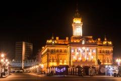 诺维萨德塞尔维亚在冬天在晚上 库存照片