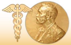 诺贝尔医学奖、金多角形奖牌和医学标志 向量例证