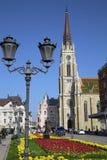 诺维萨德,塞尔维亚- 4月03 :在宽容大教堂的看法从str 免版税库存图片