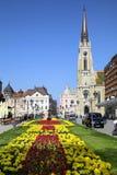诺维萨德,塞尔维亚- 4月03 :在宽容大教堂的看法从str 免版税库存照片