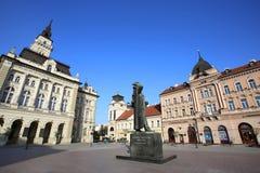 诺维萨德,塞尔维亚- 4月03 :自由广场(Trg Slobode看法  库存照片