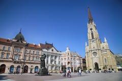 诺维萨德,塞尔维亚- 4月03 :自由广场(Trg Slobode看法  免版税库存图片