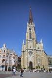 诺维萨德,塞尔维亚- 4月03 :自由广场(Trg Slobode看法  免版税库存照片