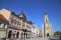 诺维萨德,塞尔维亚- 4月03 :自由广场(Trg Slobode看法  图库摄影