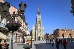 诺维萨德,塞尔维亚- 4月03 :自由广场(Trg Slobode看法  免版税图库摄影