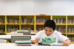 读一本书的亚裔男孩在图书馆里 库存图片