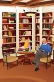 读一本书的老人在图书馆里