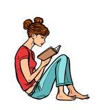 读书的青少年的女孩 库存例证