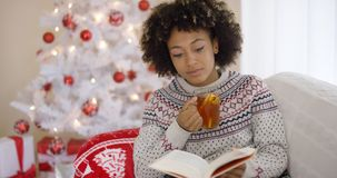 读在圣诞树前面的妇女一本书 库存图片