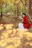 读在浪漫秋天风景的年轻亚裔肉欲的妇女一本书 相当女孩画象在秋季森林里 库存照片
