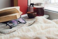 读的一个舒适地方在窗台-亚洲茶,一条温暖的围巾,书,舒适,启发,放松大气  免版税图库摄影
