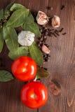调味品和蕃茄在一张木桌上 免版税库存图片