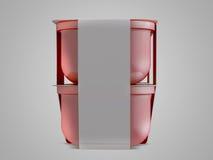 调味汁、番茄酱、芥末或者任何液体食品容器在黑背景 3d例证 免版税库存照片