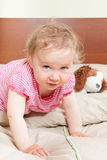 调查在床上的照相机的逗人喜爱的女婴。 库存图片