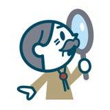 调查放大镜的老人 免版税图库摄影