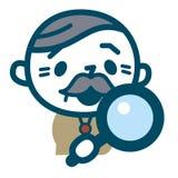 调查放大镜的老人 图库摄影