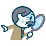 调查放大镜的老人 免版税库存照片