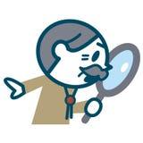 调查放大镜的老人 免版税库存图片