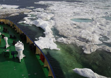 调查船在冰冷的北极海 库存图片