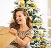 调查购物袋的微笑的妇女在圣诞树附近 免版税图库摄影