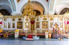 调解大教堂的内部在Zverin Pokrovsky Monas 库存图片