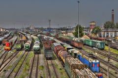 调车场俄国铁路的货物终端,圣宠物 库存图片