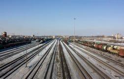 调车场在圣彼得堡,冬天 库存图片