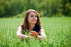 调遣愉快的妇女年轻人 免版税库存图片