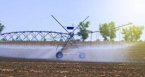 调遣更好的植物生长的灌溉系统并且促进耕种和生长农业庄稼 免版税库存图片