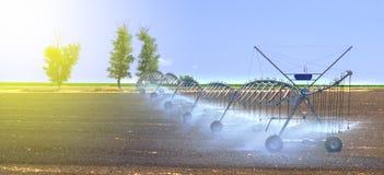 调遣更好的植物生长的灌溉系统并且促进耕种和生长农业庄稼 免版税库存照片