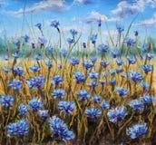 调遣花 蓝色花在草甸 蓝天 森林横向油画河 免版税图库摄影