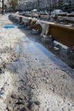 调整建筑在伊兹密尔的海边的区域铁路 库存图片
