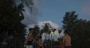 谈两对的夫妇走在海滩在日落以后,带领在棕榈树的女孩人在微明下 股票视频