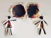 谈的人民、抽象被剥去的纸设计和火焰 免版税库存照片