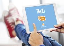 谈的谈话通信交谈概念 库存照片