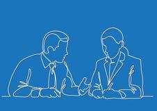谈论坐的商人和的女商人工作过程-实线图画 向量例证