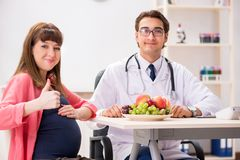 谈论孕妇参观的医生健康饮食 库存照片
