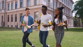 谈论,吃午餐和吃多哥食物的三名年轻不同种族的饥饿的人学生,当站起来室外时 股票视频